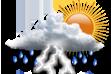 Nublado e Pancadas de Chuva - Muitas nuvens com curtos períodos de sol e pancadas de chuva com trovoadas